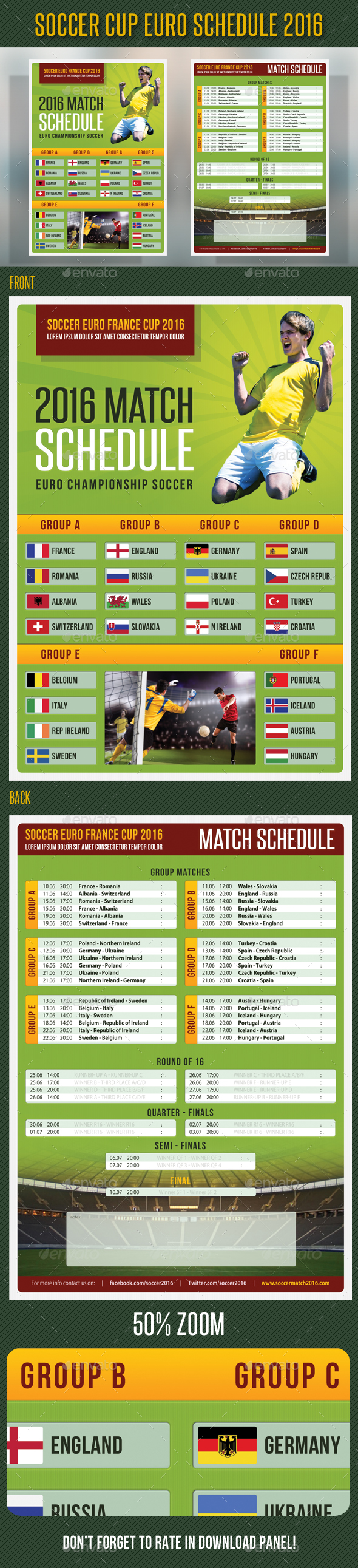 Soccer Cup Euro Schedule 2016 Flyer - Sports Events