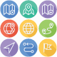 Map Location and Navigation Flat Line Icons - GraphicRiver Item for Sale