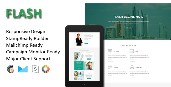 FLASH – Multipurpose Responsive Email Template + Stamp Ready Builder