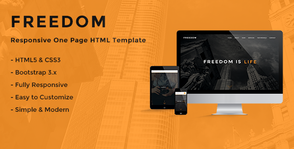 Freedom – Responsive One Page HTML Template