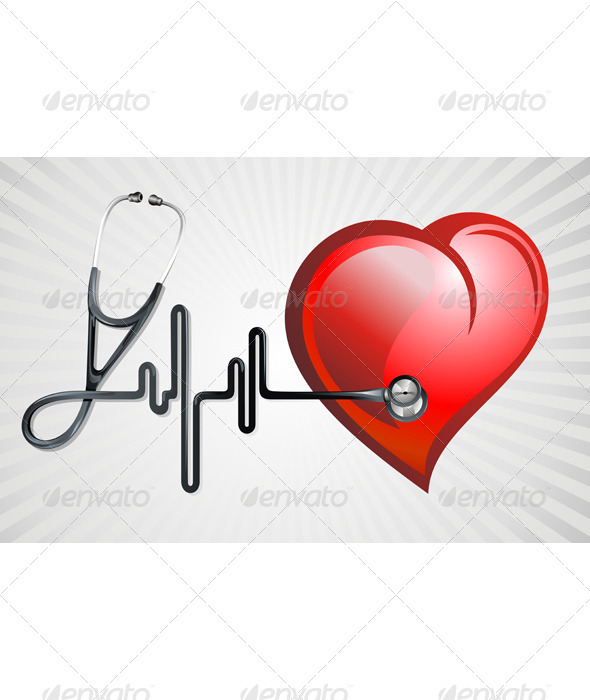 Stethoscope and heart - Health/Medicine Conceptual