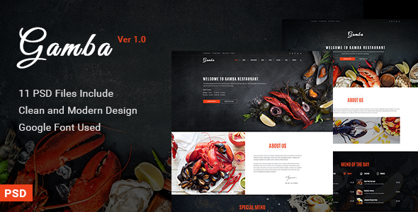 Gamba – Food & Restaurant PSD Template