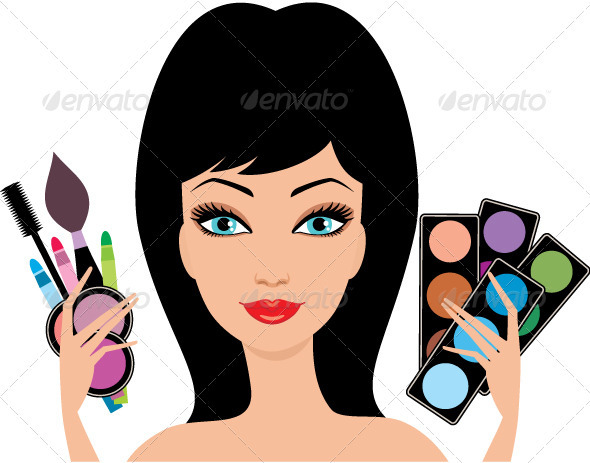 Young beautiful woman with decorative cosmetics  - Characters Vectors