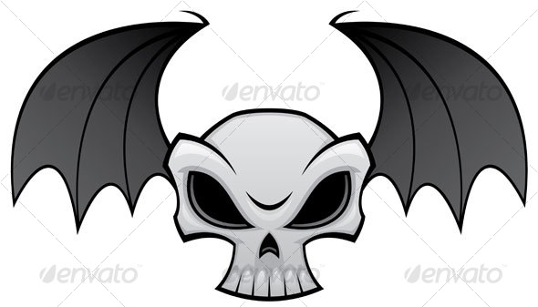 Bat Wing Skull - Tattoos Vectors