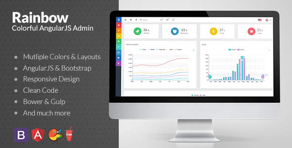 Rainbow – Colorful Bootstrap Admin with AngularJS