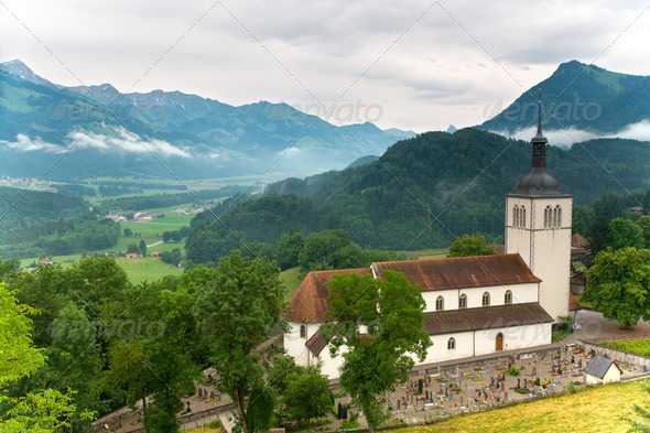 Church of Gruyères in the canton of Fribourg, Switzerland - Stock Photo - Images