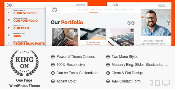 King On – One Page Creative WordPress Theme