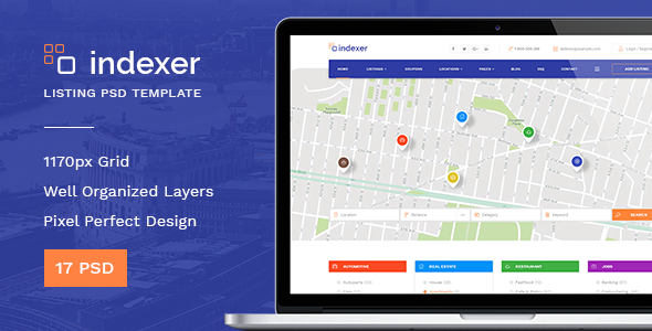 Indexer — Universal Directory Listing PSD Template - Corporate PSD Templates