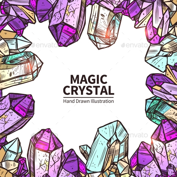 Crystals Hand Drawn Illustration  - Organic Objects Objects