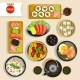 Japanese Food Top View Set