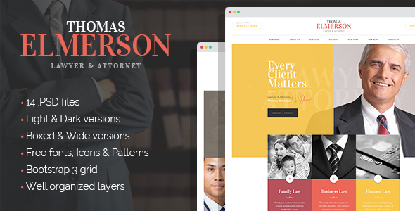 Lawyer & Attorney – personal lawyer and law company PSD template