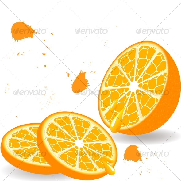 Orange with the  two  slices - Organic Objects Objects