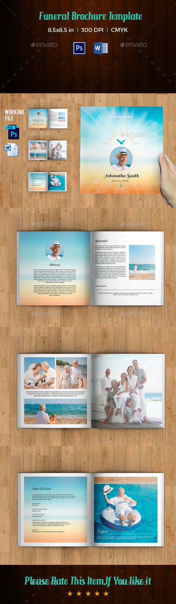 Funeral Program Template Page Square Booklet By FuneralTemplates - 8 page booklet template