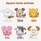Cartoon Square Home Animals - GraphicRiver Item for Sale