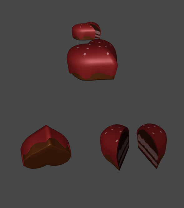 Cake in Heart Shape for Games - 3DOcean Item for Sale
