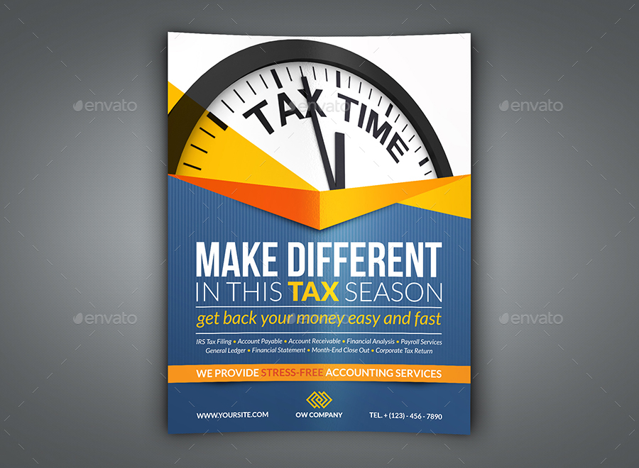 Tax and Accounting Flyer Template by OWPictures | GraphicRiver