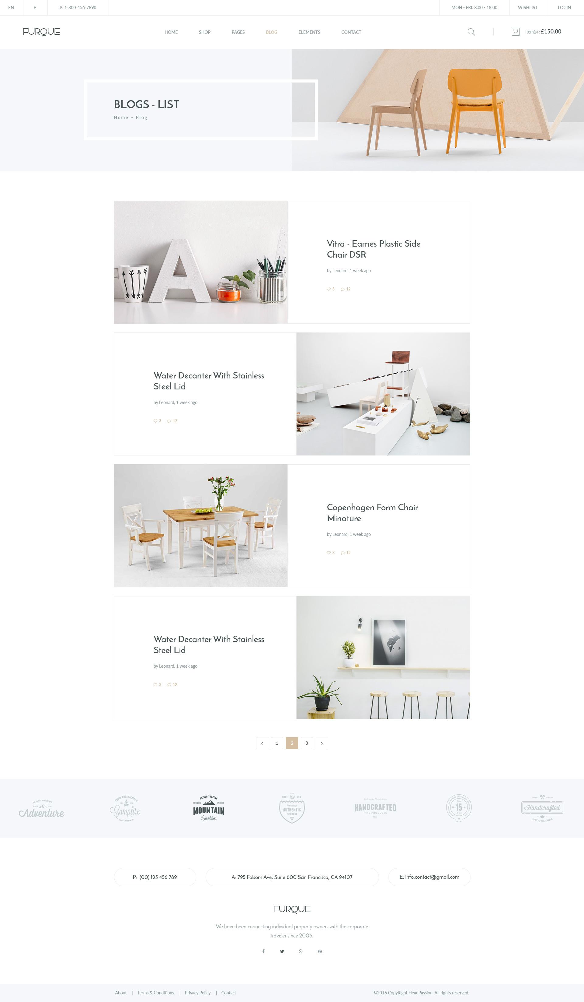 FURQUE   Creative Multiconcept Furniture Store PSD Template