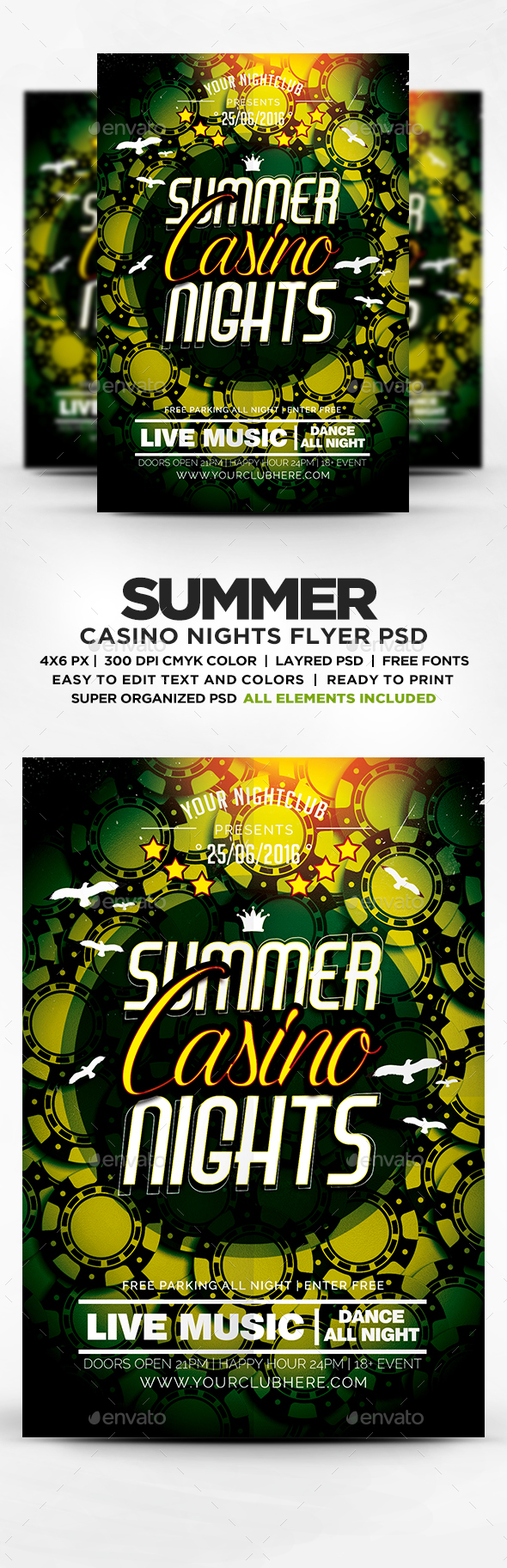Casino Nights Flyer Template PSD
