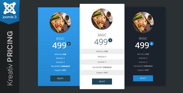 Kreativ Pricing Joomla Pricing Table Module