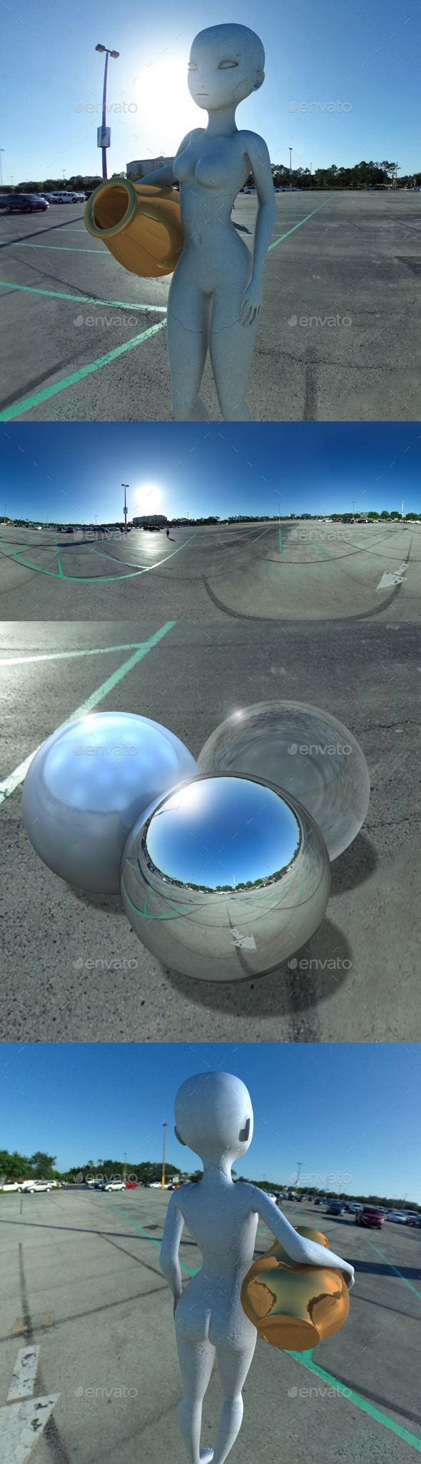Blue Sky Open Car Park HDRI - 3DOcean Item for Sale