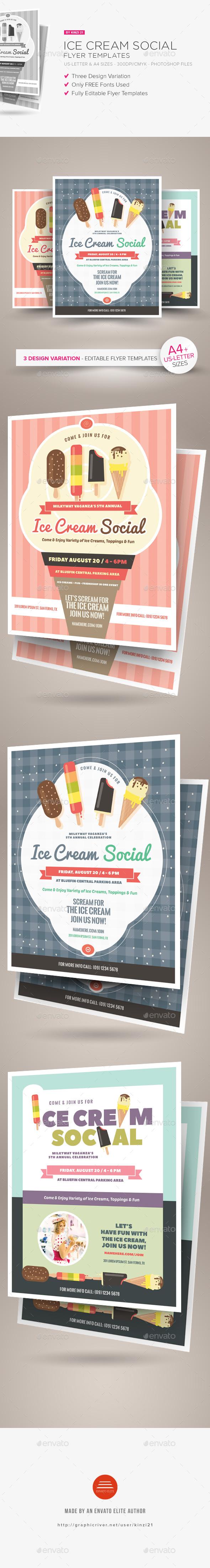 Ice Cream Social Flyer Templates by kinzi21 | GraphicRiver