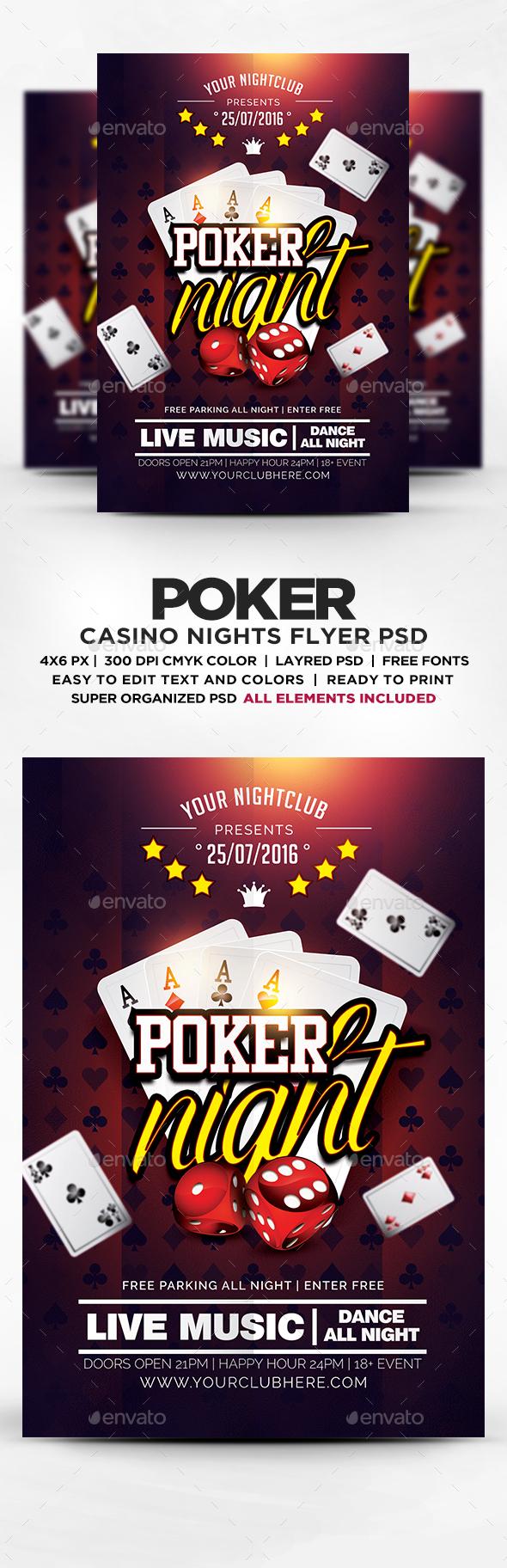 Poker Night Flyer Template PSD