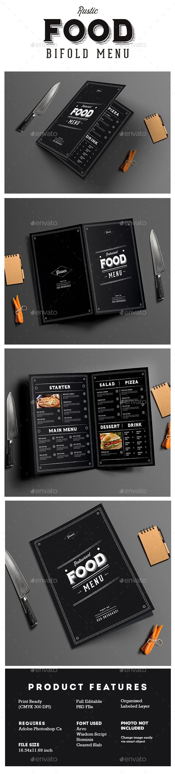 Rustic Bifold Restaurant Menu - Food Menus Print Templates