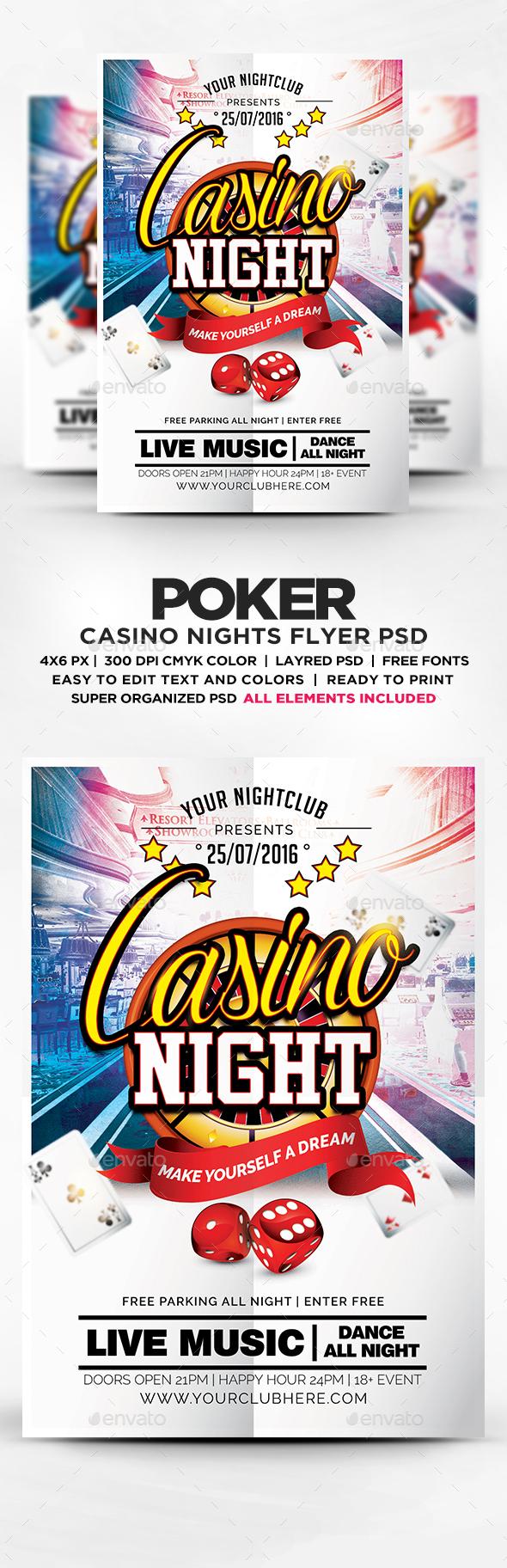 Casino Night Flyer Template PSD