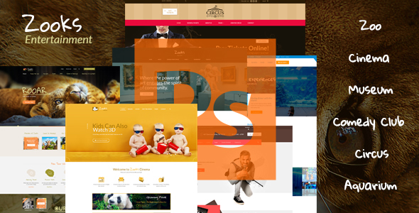 Zooks – Zoo, Cinema, Museum, Comedy Club, Circus & Aquarium PSD Template