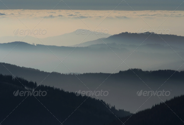 Hills in the mist - Stock Photo - Images