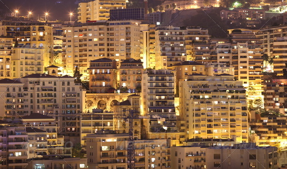 Night view of Monaco - Stock Photo - Images