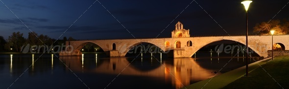 Pont St. Benezet (AKA Pont d'Avignon) famous medieval bridge in the town of Avignon, France - Stock Photo - Images