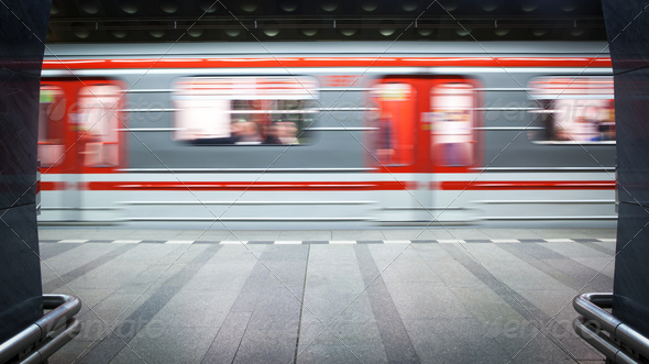 Subway station (motion blurred & color toned image) - Stock Photo - Images