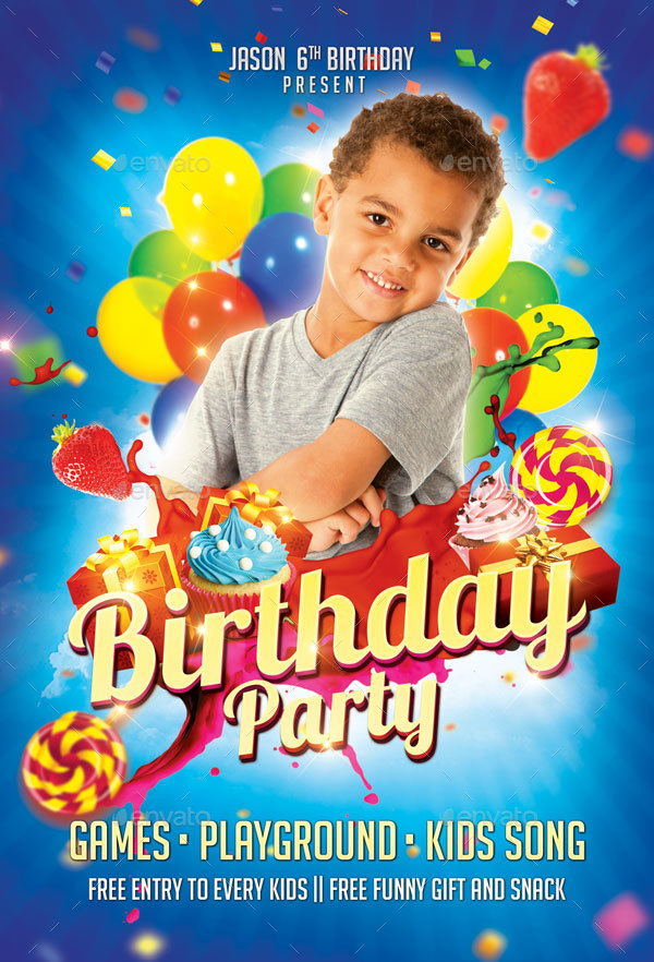 Kids Birthday Party Flyer by EyestetixStudio | GraphicRiver