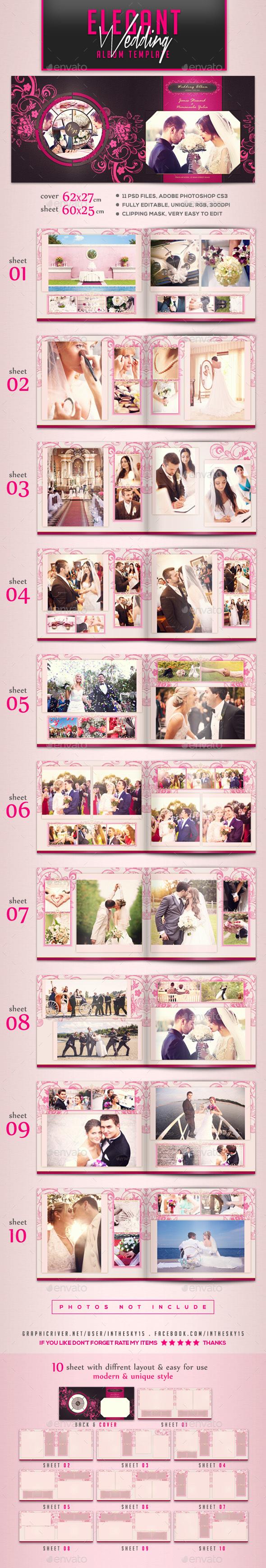 elegant wedding album template by inthesky15 graphicriver