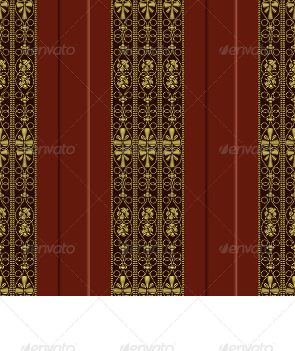 Vector Seamless Pattern of Gold Embroidery - Patterns Decorative