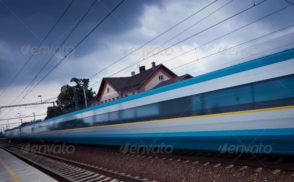 Fast train passing by (motion blur is used to convey movement; c - Stock Photo - Images