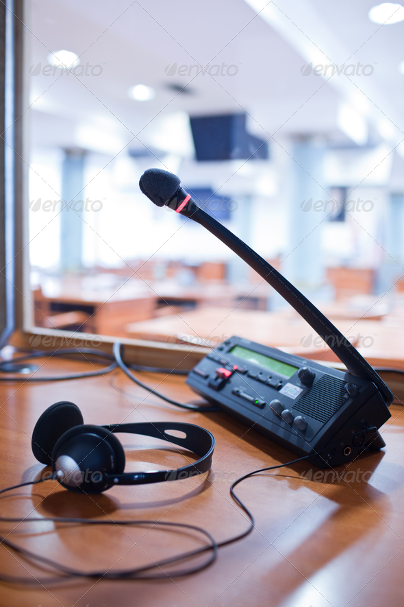 interpreting - Microphone and switchboard in an simultaneous int - Stock Photo - Images