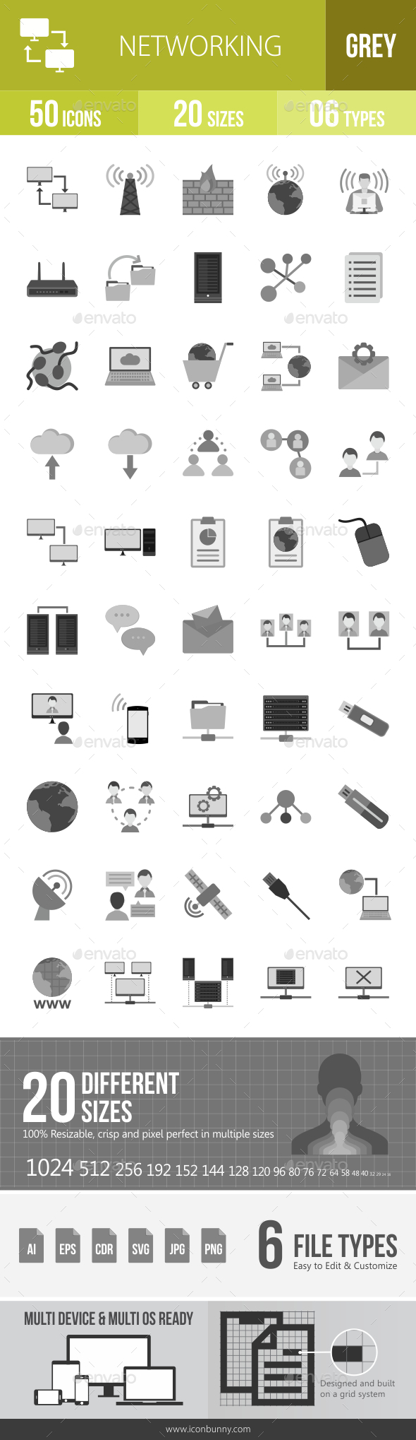Networking Greyscale Icons - Icons