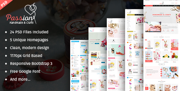 Passion – Handmade & Craft eCommerce PSD Template