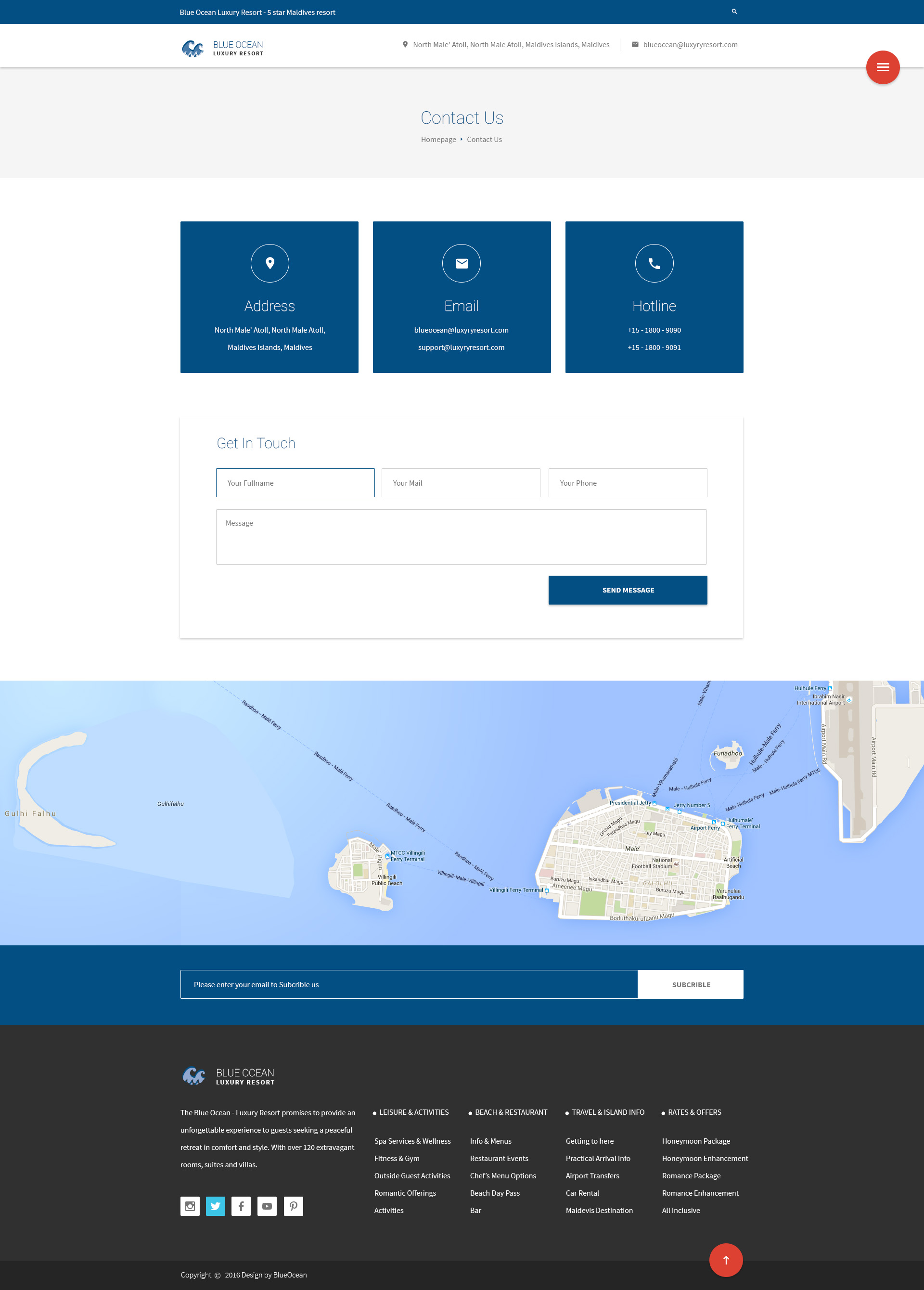 Blue Ocean Resort Hotel Psd Template