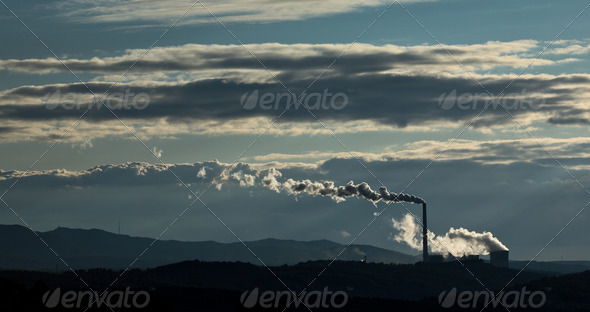 Factory polluting the environment (color toned image) - Stock Photo - Images