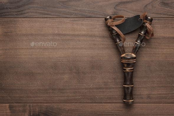handmade wooden slingshot - Stock Photo - Images
