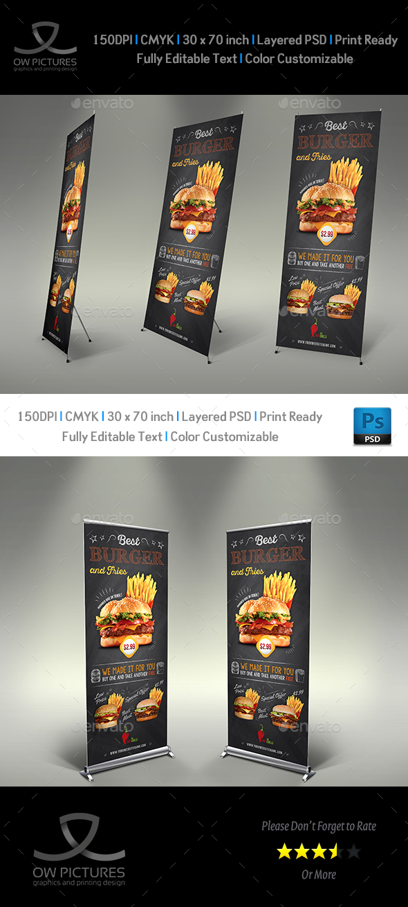 Burger Signage Banner Rollup Template Vol.7