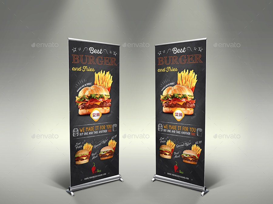 Burger Signage Banner Rollup Template Vol.7 by OWPictures ...