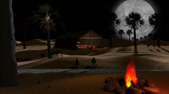 3D Arabian and Islamic desert scene with dreamy atmosphere loop - 3DOcean Item for Sale
