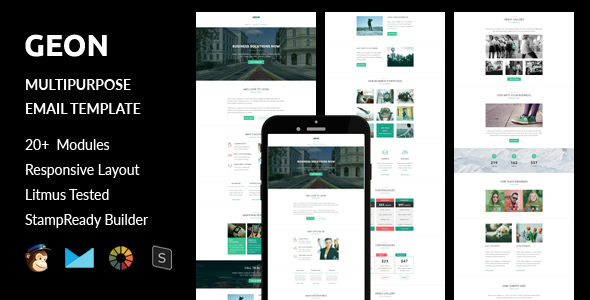 GEON - Multipurpose Responsive Email Template + Stampready Builder - Email Templates Marketing