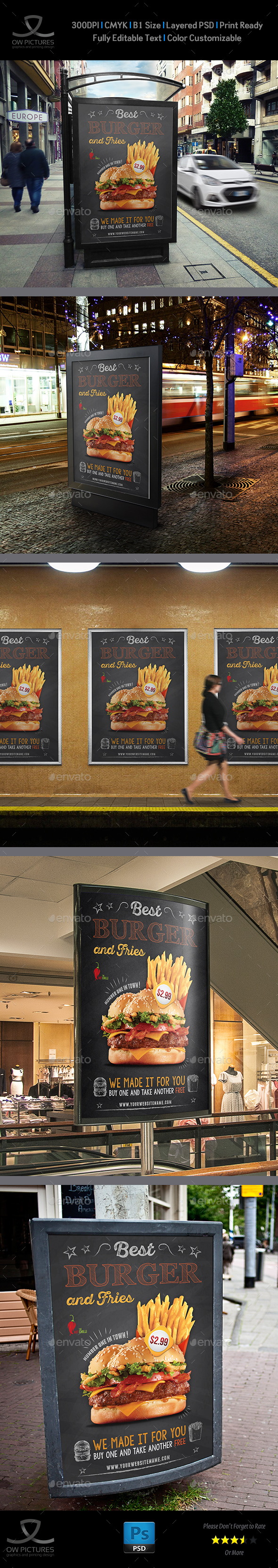 Burger Restaurant Poster Template Vol.4