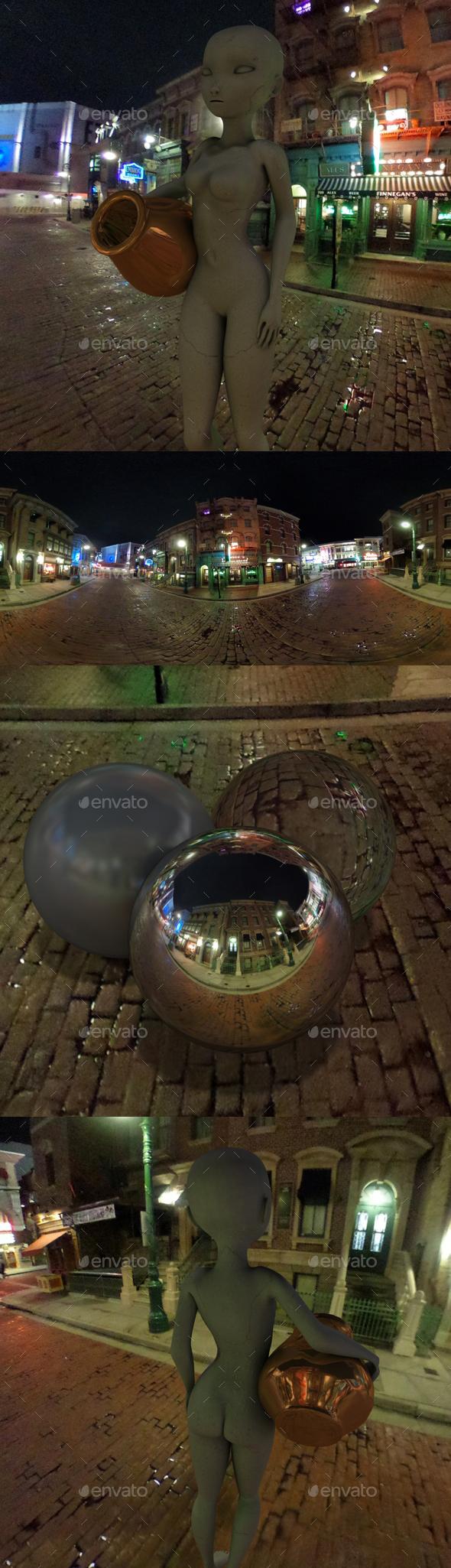 Nighttime Old New York Street HDRI - 3DOcean Item for Sale