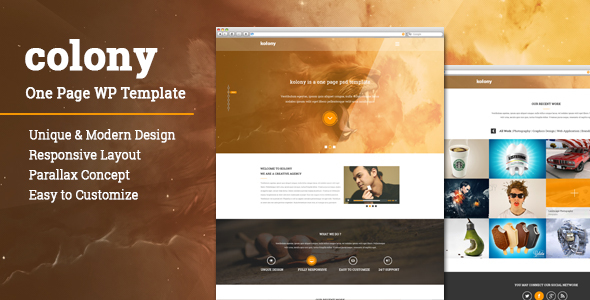 Colony One Page Parallax WordPress Theme